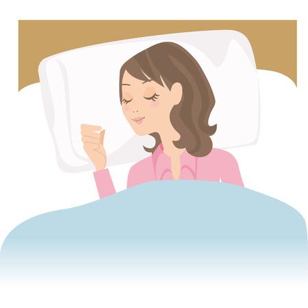 La femme qui dort dans un lit Banque d'images - 77107804