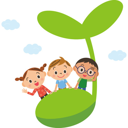 Children getting on the sprout which grew Vectores
