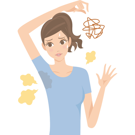 Woman of the body odor Illustration