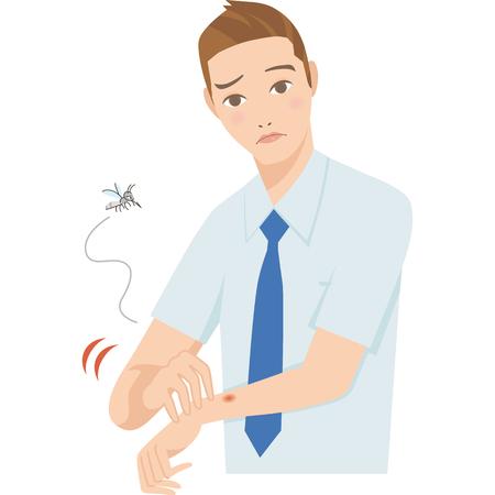 l & # 39 ; homme qui est mordu par un moustique