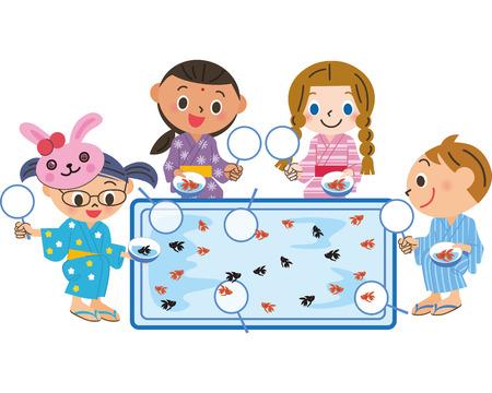 Scooping goldfish Illustration