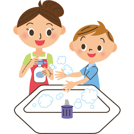 Parent and child who wash their hands Stock Illustratie