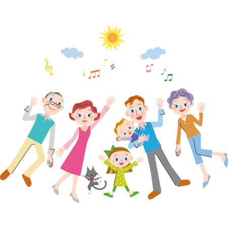 The good friend three generation family Illustration