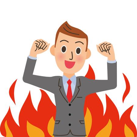 Burning male employee. Vector illustration.