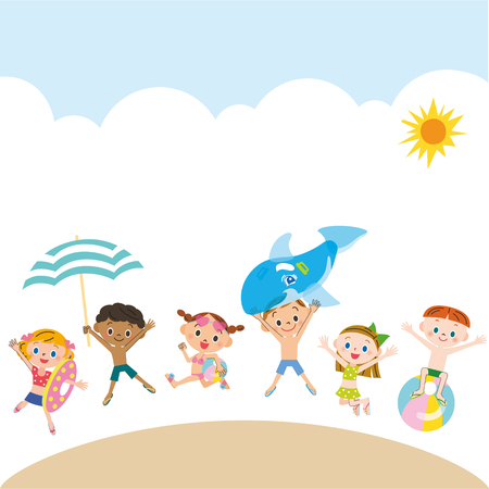 Children playing in the swimming pool Illustration