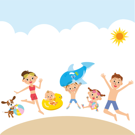 Family playing in the beach