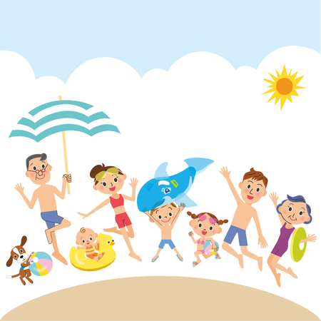 Three generations of a family playing in the beach Illustration