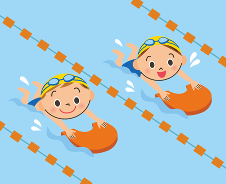Bambini che nuotano in piscina Vettoriali