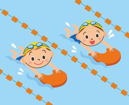 Niños nadando en la piscina Ilustración de vector