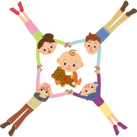 赤ちゃんを囲む 3 世代家族