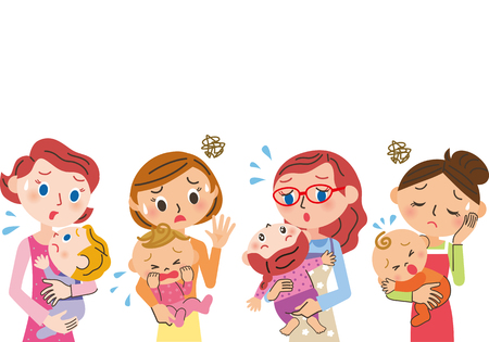 Housewife tired of childcare Illustration