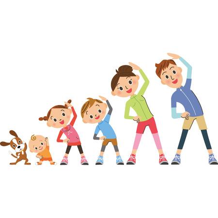 Family prepared gymnastics Illustration