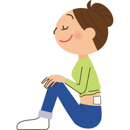 Women of low back pain Illustration