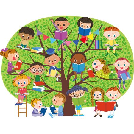 Kinder, um ein Buch im frischen Grün des Baumes zu lesen