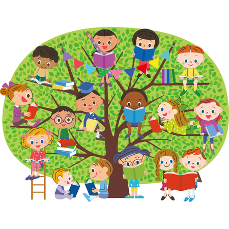 Children to read a book in the fresh green of the tree