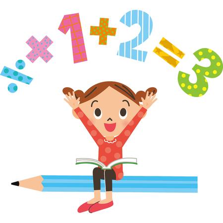 Meisje zit op een potlood die berekening doet