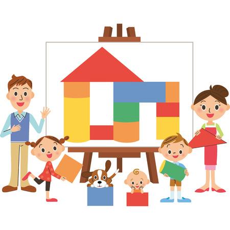 ファミリービルディングブロックキャンバス  イラスト・ベクター素材
