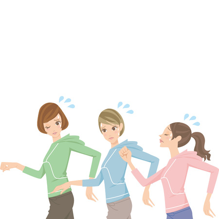 Women who are tired running Illustration