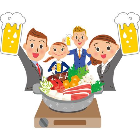 Company employee enjoying sake liquor Illustration