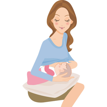 赤ちゃんと母親のベクトル図です。  イラスト・ベクター素材