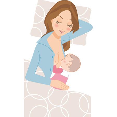 寝ていると、母乳を飲む赤ちゃん