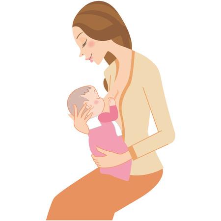 ベクトル図の母乳を飲む赤ちゃん。