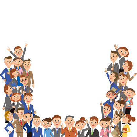 多くの従業員は、白い背景に集まった。