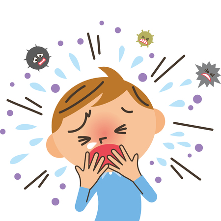 Coughing boy illustration.