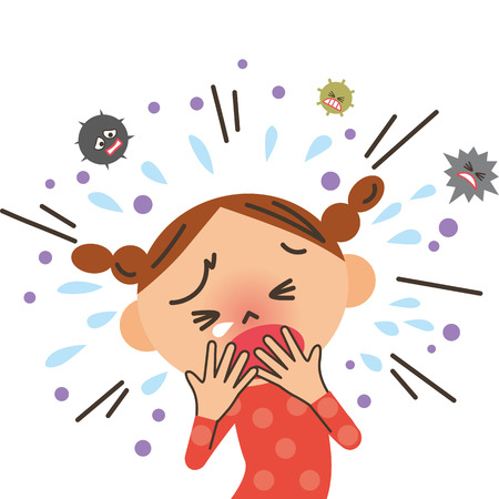 Girl coughing vector illustration