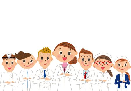 Group of doctors illustration.