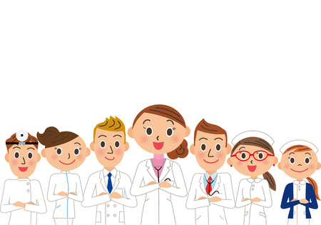Group of doctors illustration.