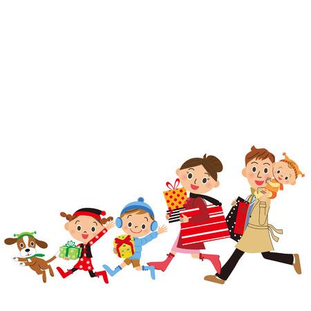 Families shopping illustration. Stock Illustratie