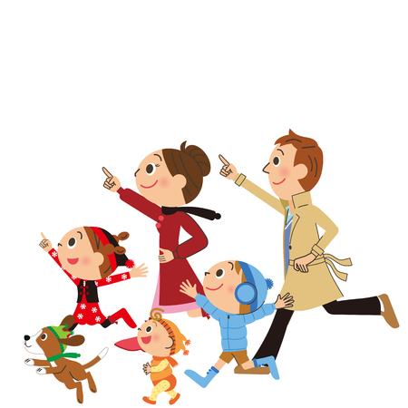 Running family Ilustração