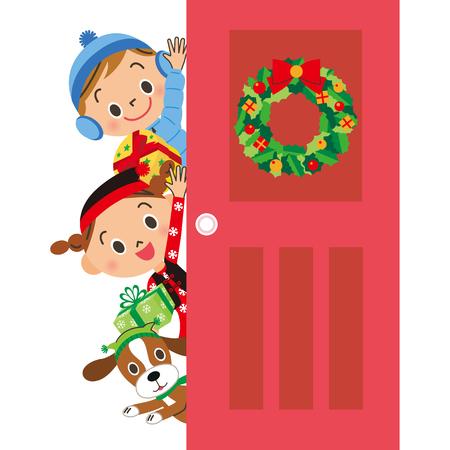 Door Christmas child Illusztráció