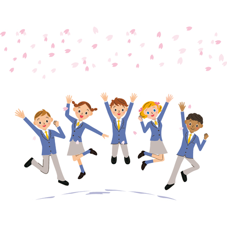 Students jumping under cherry blossoms Illustration