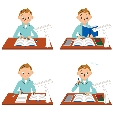 Boys are studying Illustration