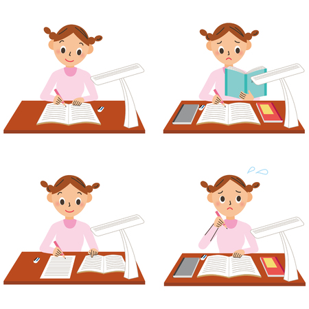 girls are studying in cartoon image on white background flat style design