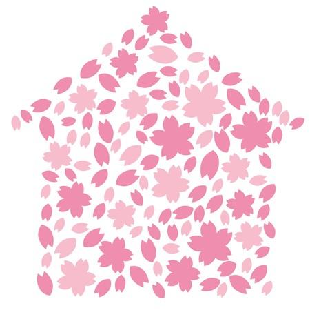 Cherry blossom silhouette. Stock Illustratie
