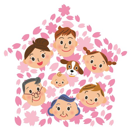 Cherry blossoms and three generation family.