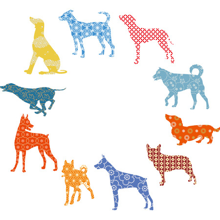 Silhouette New Years Card with various dogs Illustration