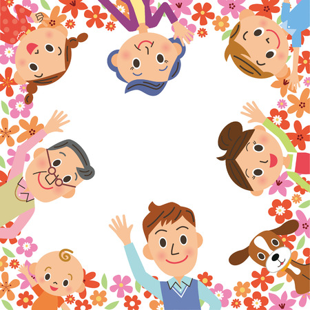 三世代家族と花枠  イラスト・ベクター素材