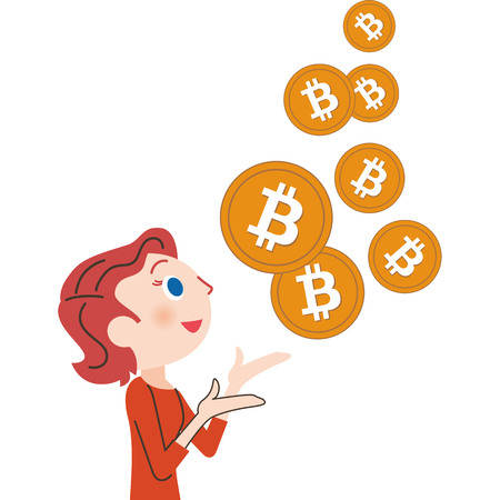 Increasing bit coin virtual currency vector illustration