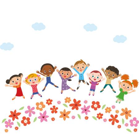 Jardín de flores con niños Foto de archivo - 92840338