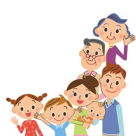 Good friend three generations family illustration.