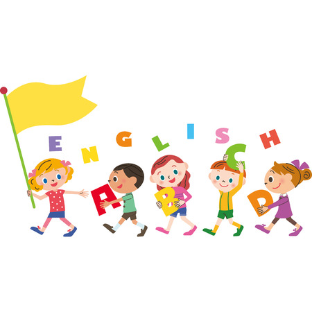 Children walking with flag with word English Illustration