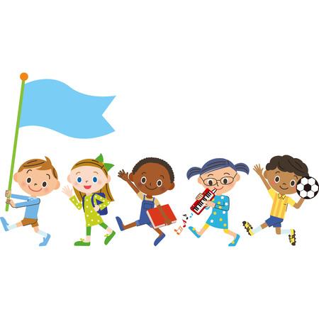 Set of happy kids icon.