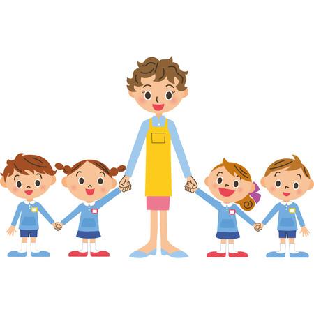 Children and teacher   are holding hands Vector illustration.  イラスト・ベクター素材