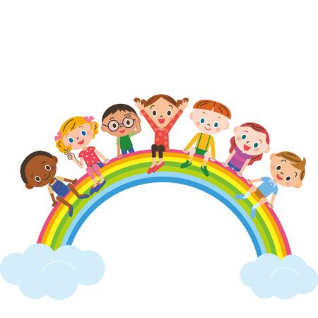虹の上に座っている子供たち  イラスト・ベクター素材