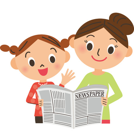 Mother and daughter looking on newspaper illustration