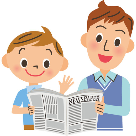 Father and son looking on newspaper illustration
